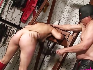 Sadist ties a girl up and whips her very hard