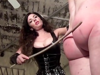 Dude with small dick is spanked by his horny mistress