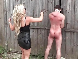 Horny goddesses have their way with a skinny useless slave