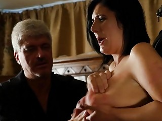 Girl with nice titties gets whipped on her back hard