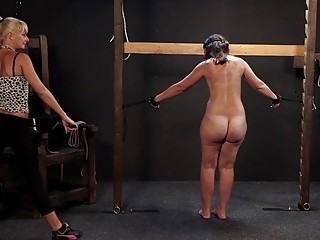 Babe gets her back whipped by a dominant old woman