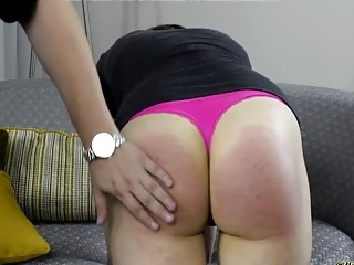 Cutie with a fat ass gets her cheeks spanked hard