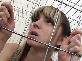 Cutie caged and then fucked up her tight ass hole