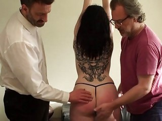 Skinny pale submissive gets fucked down her throat by dom