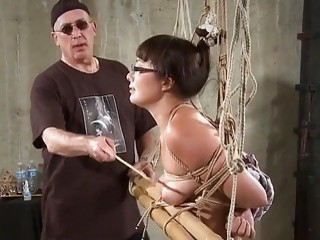 Mature dom gets his Asian slave slapped around very hard