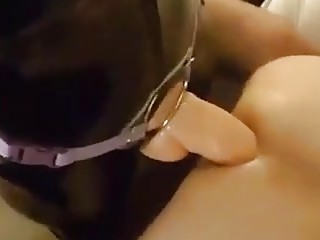 He's bent over and fucked by her massive fat strap-on