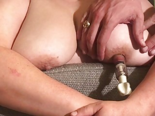 Torturing her wonderful nipples and squeezing her massive pale tits