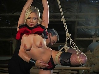 She gets her big fat ass spanked by mature master