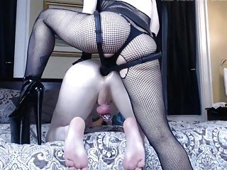 Dude bent over and fucked with a strap on hard