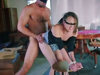 Teenie is tied up and fucked hard by a dom