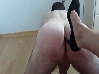 Dude gets a high heel up his tight butt hole