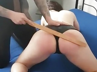 Big booty chick gets spanked hard by mature lesbian babe