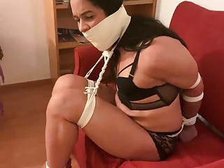 Babe is tied up and gagged inside of the room