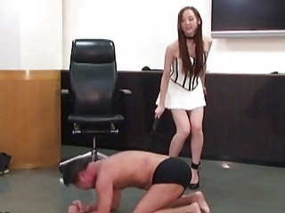 Girl teases a horny dude and then spanks his ass