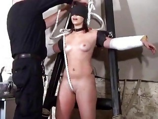 BDSM babe gets her nipples teased by an old man