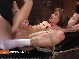 Hardcore cock sucking and anal time during BDSM for babe