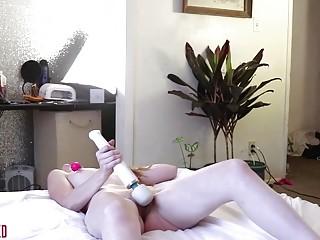 Horny naked girl enjoys BDSM and long masturbation at home