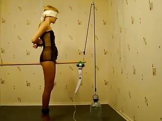 Horny girl in sluty lingerie loves BDSM and adult toys