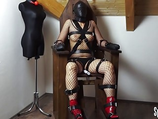 Submissive girl in fishnet loves BDSM and surrendering to master