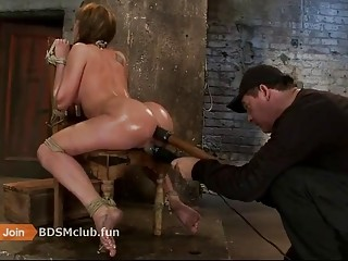 Naked babe with a big ass enjoys BDSM and anal