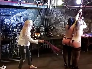 Two sluty lesbian girls obey BDSM and spanking their asses