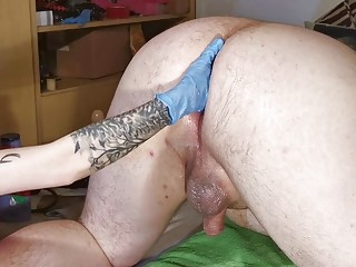 Tattooed girl enjoys BDSM and femdom with her male slave