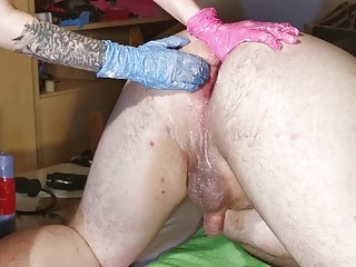 Perverted girl loves BDSM and femdom fisting male ass holes