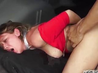 Sluty girl enjoys bondage and BDSM fuck in a car
