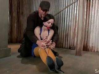 Sluty naked girl enjoys BDSM and bondage with her master