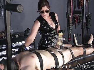 Nasty mature mistress enjoys BDSM play and bondage with men