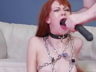 Chained up redhead slut rims asshole and gets used up