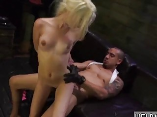 Petite blonde with small tits rides a huge hard dick